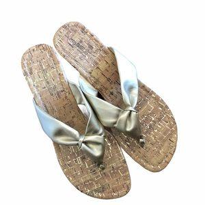 Sandals cork heel gold strap size 9